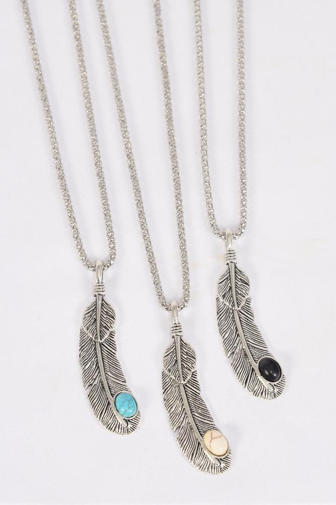 "Necklace Silver Chain Feather Semiprecious Stone/DZ Pendant-2""x 0.5"" Wide,Chain-18"" Extension Chain,4 Ivory,4 Black,4 Turquoise Asst,Hang Tag & OPP Bag & UPC Code"