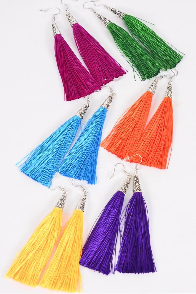"Earrings Aztec Fringe Tassels Multi/DZ **Multi** Fish Hook,Size-3""x 1.5"" Wide,2 of each Color Asst,Earring Card & OPP Bag & UPC Code"
