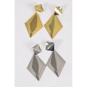 "Earrings Metal Dangle Diamond Shape G/S Mix Post/DZ **Post** Size-2.5""x 1.5"" Wide,6 Gold & 6 Silver Mix,Earring Card & OPP Bag & UPC Code"