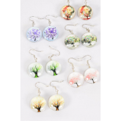 "Earrings Tree of Life Double Sided Glass Dome/DZ match 70090 **Fish Hook** Size-0.75"" Wide,2 of each Design Asst,Earring Card & OPP Bag & UPC Code"