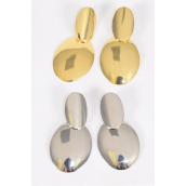 "Earrings Metal Oval Dangle G/S Mix Post/DZ **Post** Size-2.25""x 1.25"" Wide,6 Gold & 6 Silver Mix,Earring Card & OPP Bag & UPC Code"
