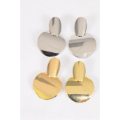 """Earrings Metal Oval Circle G/S Mix Post/DZ **Post** Size-2""""x 1.5"""" Wide,6 Gold & 6 Silver Mix,Earring Card & OPP Bag & UPC Code"""