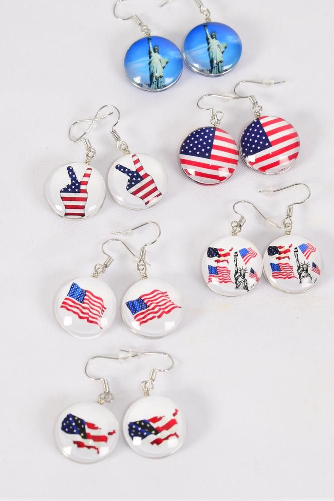 "Earrings Patriotic Flag Double Sided Glass Dome/DZ match 70250 **Fish Hook** Size-0.75"" Wide,2 of each Design Asst,Earring Card & OPP Bag & UPC Code"