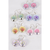 "Earrings Tree of Life Double Sided Glass Dome/DZ match 70239 **Fish Hook** Size-0.75"" Wide,2 of each Design Asst,Earring Card & OPP Bag & UPC Code"