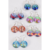 "Earrings Tree of Life Double Sided Glass Dome/DZ match 70240 **Fish Hook** Size-0.75"" Wide,2 of each Design Asst,Earring Card & OPP Bag & UPC Code"