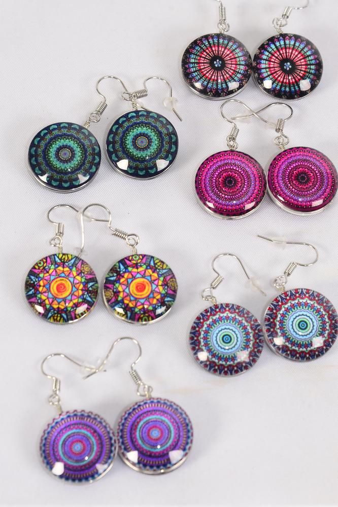 "Earrings Aztec Double Sided Glass Dome/DZ match 70099 70103 **Fish Hook** Size-0.75"" Wide,2 of each Design Asst,Earring Card & OPP Bag & UPC Code"