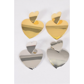 "Earrings Metal Heart G/S Mix Post/DZ **Post** Size-2.25""x 1.75"" Wide,6 Gold & 6 Silver Mix,Earring Card & OPP Bag & UPC Code"