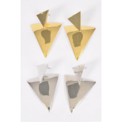"Earrings Metal Triangle Dangle G/S Mix Post/DZ **Post** Size-2.25""x 1.25"" Wide,6 Gold & 6 Silver Mix,Earring Card & OPP Bag & UPC Code"