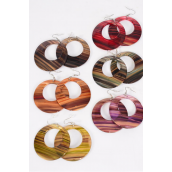 "Earrings Acrylic Circle Dangle Stripe Post/DZ match 28112 **Post** Size-2.25"",Finish 2 Sides,2 of each Color Asst,Earring Card & Opp Bag & UPC Code"