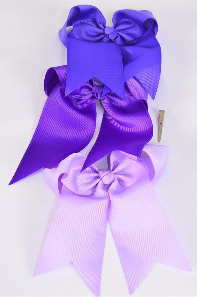 "Hair Bow Extra Jumbo Long Tail Cheer Type Bow Purple Mix Alligator Clip Grosgrain Bow-tie/DZ **Purple Mix** Alligator Clip,Size-7""x 6"" Wide,4 of each Color Asst,Clip Strip & UPC Code"