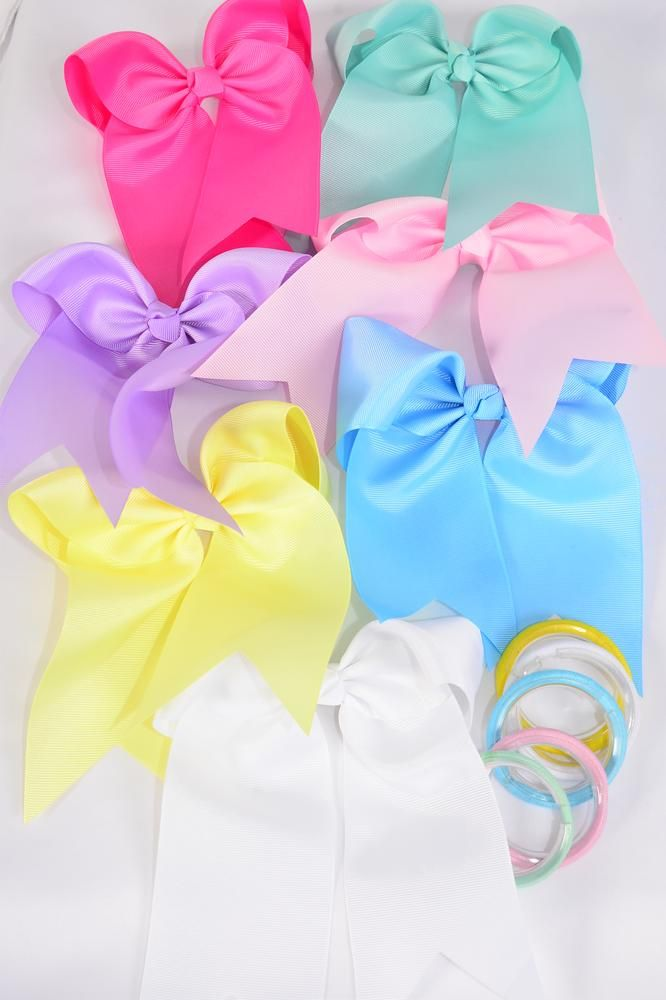 3c822ef341e44 Hair Bow Extra Jumbo Long Tail Pastel Elastic Grosgrain Bow-tie/DZ ...