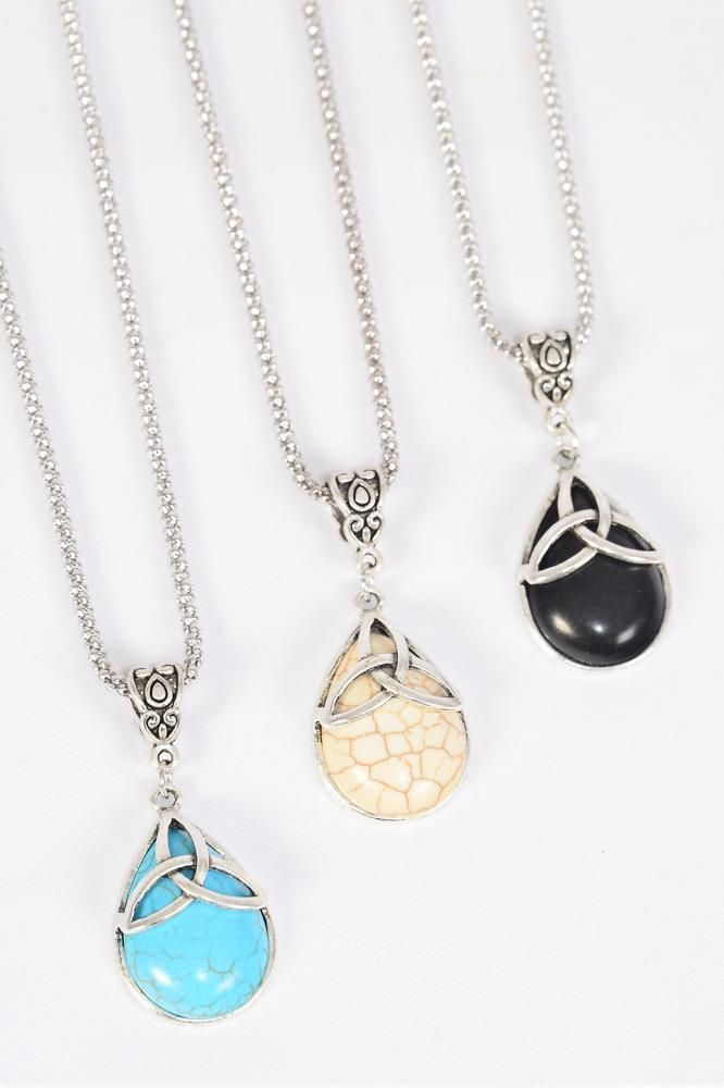 "Necklace Silver Chain Teardrop Semiprecious Stone Trinity Celtic Knot/DZ match 03180 Pendant-1.25"" x 1"" Wide,Chain-18"" Extension Chain,4 Ivory,4 Black,4 Turquoise Asst,Hang Tag & OPP Bag & UPC Code"