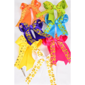 "Hair Bow Long Tail Double Layer Emoji Grosgrain Bow-tie Citrus/DZ/DZ **Citrus** Alligator Clip,Size-7""x 6"" Wide,2 White,2 Fuchsia,2 Purple,2 Yellow,2 Blue,1 Lime,1 Orange,7 Color Asst,Clip Strip & UPC Code"
