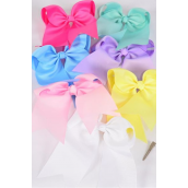 "Hair Bow Extra Jumbo Long Tail Cheer Type Bow Pastel Grosgrain Bow-tie/DZ **Pastel** Size-7""x 6"" Wide,Alligator Clip,2 White,2 Baby Pink,2 Lavender,2 Hot Pink,2 Mint Green,1 Blue,1 Yellow,7 Color Asst,Clip Strip & UPC Code"