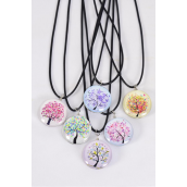 "Necklace Black Tree Of Life Double Sided Glass Dome/DZ match 03306 Pendant Size-1.25"" Wide,Necklace 18"" Long Extension Chain,2 of each Style Asst,Hang Tag & OPP Bag & UPC Code"