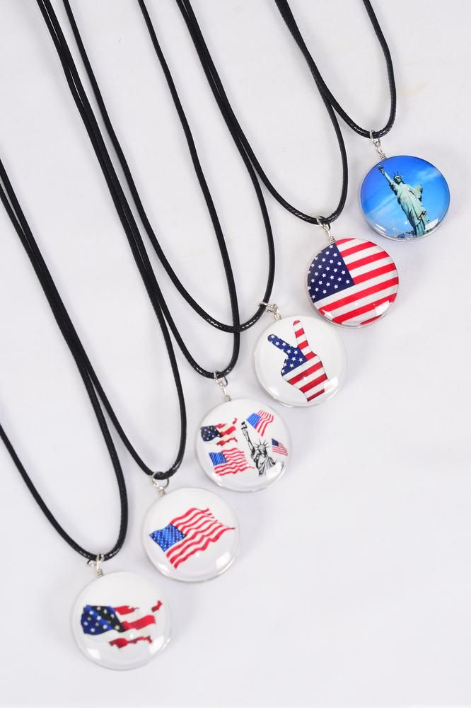 "Necklace Black Patriotic Double Sided Glass Dome/DZ match 03316 Pendant Size-1.25"" Wide,Necklace 18"" Long Extension Chain,2 of each Style Asst,Hang Tag & OPP Bag & UPC Code"