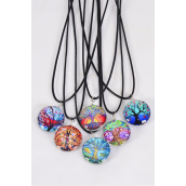 "Necklace Black Tree Of Life Double Sided Glass Dome/DZ match 03307 Pendant Size-1.25"" Wide,Necklace 18"" Long Extension Chain,2 of each Style Asst,Hang Tag & OPP Bag & UPC Code"