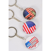 "Key Chain Patriotic- Flag Double Sided Glass Dome/DZ match 03077 Size-1.5"" Wide,4 of each Pattern Asst,Hang Tag & OPP Bag & UPC Code"