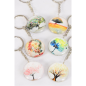 "Key Chain Tree of Life Double Sided Glass Dome Multi/DZ match 03071 **Multi** Size-1.5"" Wide,2 of each Design Asst,Hang Tag & OPP Bag & UPC Code"