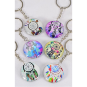 "Key Chain Dream Catcher Double Sided Glass Dome/DZ match 03314 Size-1.5"" Wide,2 of each Design Asst,Hang Tag & OPP Bag & UPC Code"