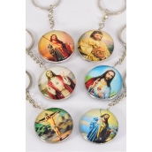 "Key Chain Jesus Double Sided Glass Dome/DZ match 03072 **Jesus** Size-1.5"" Wide,2 of each Deisgn Asst,Hang Tag & OPP Bag & UPC Code"