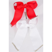 "Hair Bow Long Tail Clear Stones Grosgrain Bow Red & White Mix/DZ **Red & White** Alligator Clip,Size-7"" x 6"" Wide,6 Red,6 White Mix,Clip Strip & UPC Code"