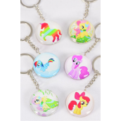 "Key Chain Pony Double Sided Glass Dome Multi/DZ match 03078 **Multi** Size-1.5"" Wide,2 of each Design Asst,Hang Tag & OPP Bag & UPC Code"