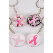 "Key Chain Pink Ribbon Double Sided Glass Dome/DZ match 03066 **Pink Ribbon** Size-1.5"" Wide,2 of each Design Asst,Hang Tag & OPP Bag & UPC Code"