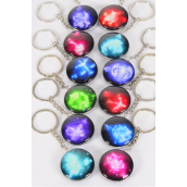 "Key Chain Zodiac Double Sided Glass Dome Multi/DZ match 03075 **Multi** Size-1.5"" Wide,12 Month Asst,Hang Tag & OPP Bag & UPC Code"
