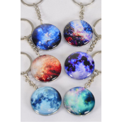 "Key Chain Galaxy Double Sided Glass Dome Multi/DZ match 03076 **Multi** Size-1.5"" Wide,2 of each Design Asst,Hang Tag & OPP Bag & UPC Code"