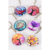 "Key Chain Tree of Life Double Sided Glass Dome Multi/DZ match 03081 **Multi** Size-1.5"" Wide,2 of each Design Asst,Hang Tag & OPP Bag & UPC Code"