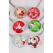 "Key Chain XMAS Double Sided Glass Dome/DZ match 03069 **XMAS** Size-1.5"" Wide,2 of each Design Asst,Hang Tag & OPP Bag & UPC Code"