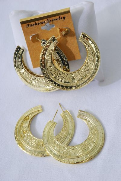 "Earrings Gold Metal Loop Bohemian/DZ **Post** Size-2.25"" Wide,Finish 2 Sides,Earring Card & OPP Bag & UPC Code"