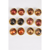 "Earrings Acrylic Fall Round Stripe/DZ match 26845 **Post** Size-1.25"",2 of each Color Asst,Earring Card & Opp Bag & UPC Code -"