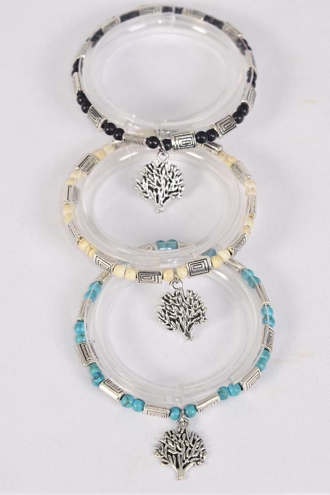 Bracelet Semiprecious Stone & Silver Tree of Life Charm Stretch/DZ **Stretch**  Black,4 Ivory,4 Turquoise,3 Color Asst,Hang Tag & Opp Bag & UPC Code