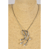 Necklace Silver Chain Glass Pearl Drops/PC **Silver** 24'' Chain extension Chain,Display Card & OPP Bag & UPC Code