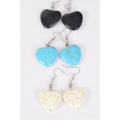 "Earrings Heart Semiprecious Stone/DZ match 70148 25666 **Fish Hook** Size-1.25""x 1"" Wide,4 Black,4 Ivory,4 Turquoise Asst,Earring Card & OPP Bag & UPC Code"