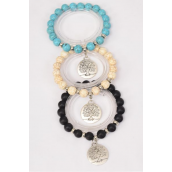 Bracelet 10 mm Semiprecious Stone Silver Tree of Life Charm/DZ **Stretch** 4 Black,4 Ivory,4 Turquoise Asst,Hang Tag & OPP Bag & UPC Code