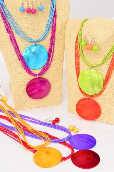 "Necklace Sets Real Seashell Round Pendant Indian Beads Citrus/DZ **Citrus** 18"" Long,Pendant Size-2"" Wide,2 White,2 Teal,2 Fuchsia,2 Purple,2 Yellow,1 Orange,1 Lime,7 Color Mix,Hang Tag & -"