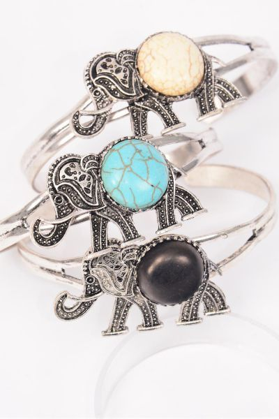 "Bracelet Cuff Elephant Semiprecious Stone/DZ match 01073 **Flexable** Elephant-1.75""x 1"" Wide,4 Black,4 Ivory,4 Turquoise Asst,Hang Tag & OPP Bag & UPC Code"