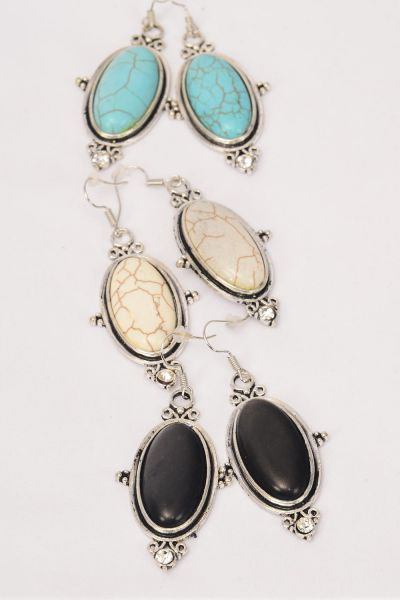 "Earrings Metal Antique Oval Semiprecious Stone/DZ match 76019 **Fish Hook** Size-1.75""x 1"" Wide,3 Black,3 Ivory,6 Turquoise Asst,Earring Card & OPP Bag & UPC Code"
