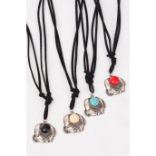 Necklace Leather Feel Elephant Pendant Semiprecious Pendant Semiprecious Stone/DZ Necklace **Adjustable** 3 Ivory,3 Black,3 Turquoise,3 Red Asst,Hang Tag & OPP Bag & UPC Code