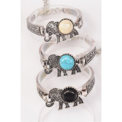"Bracelet Elephant Semiprecious Stone/DZ match 02971 **Adjustable Length** Extension Chain,Elephant-1.5"" x 1.25"" Wide,4 Black,4 Ivory,4 Turquoise Asst,Hang Tag & OPP Bag & UPC Code"