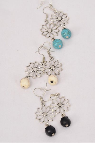 "Earrings Metal Antiquet Daisy Flower & Ball Semiprecious Stone/DZ **Fish Hook** Size-1.25""x 1"" Wide,4 Black,4 Ivory,4 Turquoise Asst,Earring Card & OPP Bag & UPC Code -"