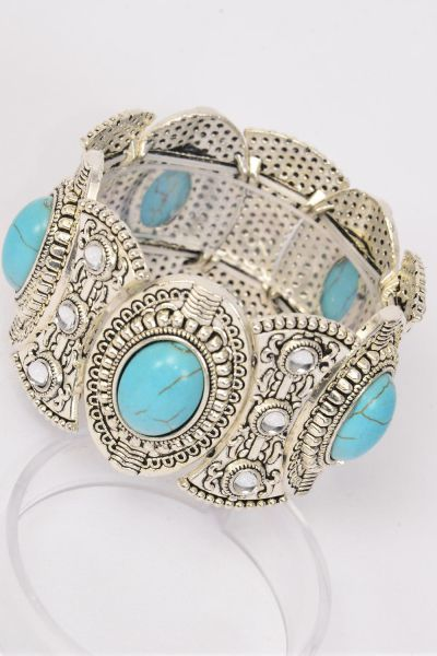 "Bracelet Oval Turquoise Semiprecious Tones Stretchy/PC **Stretch** Size-Width 1.25"" Dia Wide,Hang Tag & OPP Bag & UPC Code"