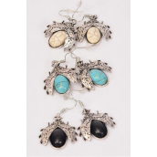 "Earrings Metal Antique Ladybug Semiprecious Stone/DZ **Fish Hook** Size-1""x 1"" Wide,4 Black,4 Ivory,4 Turquoise Asst,Earring Card & OPP Bag & UPC Code -"