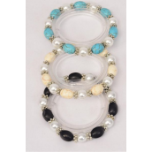 Bracelet 10 mm Glass Pearl & Oval Semiprecious Stone Mix Stretch/DZ **Stretch** 4 Ivory,4 Black,4 Turquoise Mix,Hang Tag & Opp Bag & UPC Code -