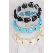 Bracelet Semiprecious Stone Heart Stretch/DZ Match 70148 03121 **Stretch** 4 Black,4 Ivory,4 Turquoise,Hang Tag & Opp Bag & UPC Code
