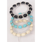 Bracelet 10 mm Semiprecious Stone Oval & Rhinestone Bezel Stretch/DZ **Stretch** 4 Black,4 Ivory,4 Turquoise,3 Color Asst,Hang Tag & Opp Bag & UPC Code