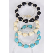 Bracelet Teardrop 12 mm Hand Carved Real Semiprecious Stone Oval & Rhinestone Bezel Stretch/DZ **Stretch** 4 Black,4 Ivory,4 Turquoise,3 Color Asst,Hang Tag & Opp Bag & UPC Code